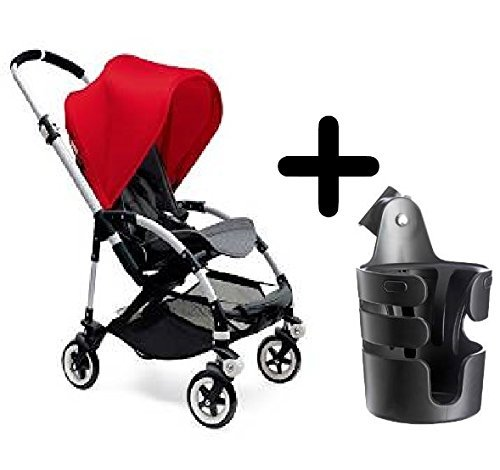 Great Deal! Bugaboo Bee3 Stroller 2015, Aluminum/Red/Grey Melange + Bugaboo Cup Holder