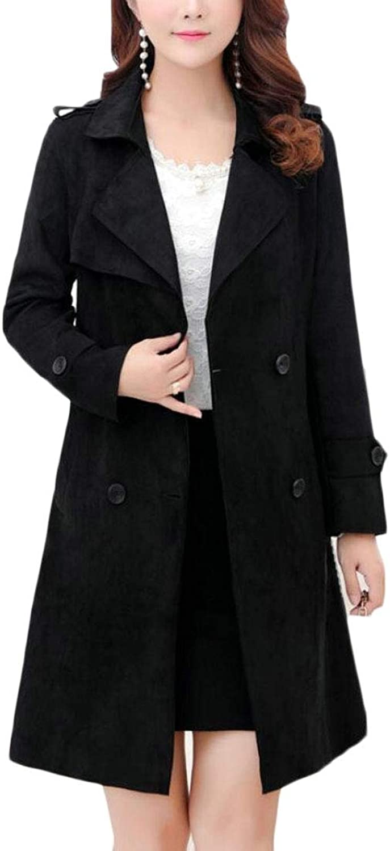 Jxfd Women's Double Breasted Trench Coat Slim Fit Long Jacket Belt