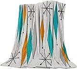 Europen Retro Prismático Moderno Patrón Manta de Franela Plaid Suave Acogedora Mullida Cálida Mantas de Lujo la 100% Microfibra para Modernas Colcha Sofa Manta-130x150cm