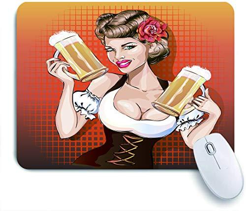 SUHOM Gaming Mouse Pad Rutschfeste Gummibasis,Oktoberfest Frau mit Bier, Pin-up-Pop-Art sexy Mädchen,für Computer Laptop Office Desk,240 x 200mm