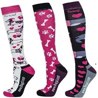 Collingham - Calcetines para mujer, 3 unidades, diseño de perro salchicha rosa, 4-8