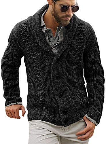 Mens Cable Knit Cardigan Sweater Shawl Collar Loose Fit Long Sleeve Casual Cardigans Black