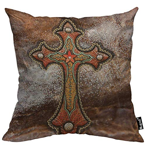 Mugod Cross Pillow Cover Tooled Leather Western Decor Turquoise and Brown 18'x 18' Soft Square Cotton Linen Pillow Case Cushion Cover Home Decorative for Men Women Boys Girls
