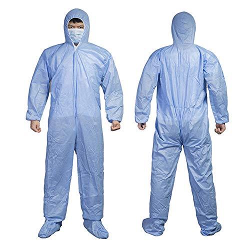 Tuta protettiva da lavoro, protezione antivirus usa e getta per indumenti personali, dispositivo medico ideale contro virus e pandemie, antipolvere, antistatico m Azzurro con custodia per scarpe.
