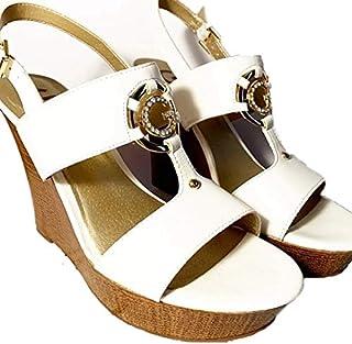 Guess Women's Rhinestone 'G' Logo High Heel Wedges, Size 7M, Leather - White