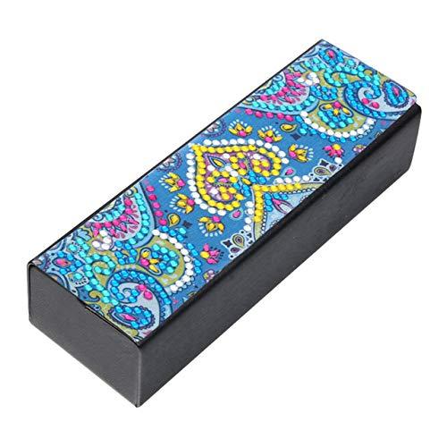 N / A DIY Diamantmalerei Brille Aufbewahrungsbox Reise Leder Sonnenbrille Fall Spezial geformte Diamant Storarage Box 16x5.4CM
