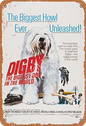 Volly Digby The Biggest Dog In The World retro Prevent Glare Classic Chic Fun Art Fashion Metal Wall Decor Cynowy znak nadaje się do kuchni salonu baru kawiarni dekoracja