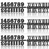 Kit de Números de Reloj Incluyendo Número Árabe y Número Romano en Oro Negro Plata Números de Reloj Digital DIY para Reemplazo Reparación de Accesorios de Reloj (Negro, 6 Piezas )