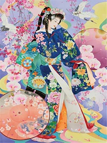 ATggqr Puzzle Adultos 1000 Piezas Sakura Mujer Japonesa Geisha Puzzle de Desafío Cerebral para niños Rompecabezas de Desafío Cerebral para Niños 50x75cm