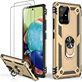 LUMARKE Galaxy A71 4G LTE Case with Screen Protector(2 Pack,Pass 16ft Drop Test Military Grade Heavy Duty Cover with Magnetic Kickstand,Protective Phone Case for Samsung Galaxy A71 4G LTE Gold
