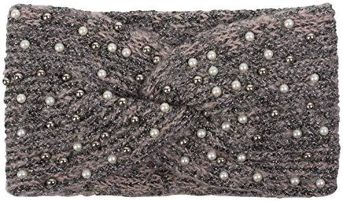 styleBREAKER Damen Strick Stirnband mit Perlen, Metallic Garn und Twist Knoten, warmes Winter Haarband, Headband 04026029, Farbe:Altrose-Schwarz