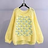 YWSZJ Navidad suéter Rojo otoño Invierno Invierno Casual Ropa Exterior Suelto Jerseys Tejidos de Punto o-Cuello Bordado Floral suéteres (Color : Yellow, Size : One Size)