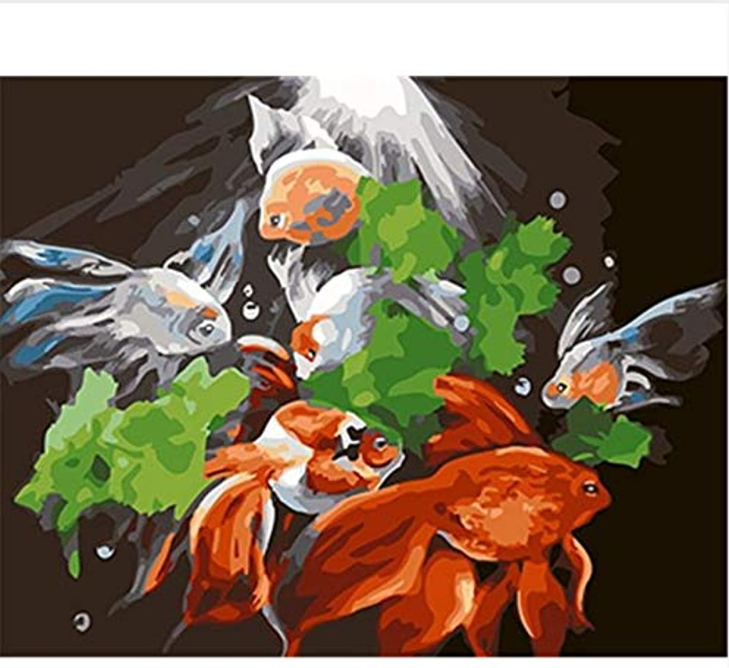 CAYYOU DIY Oil Paint Painting By Numbers coloring By Numbers Fish Painting And Calligraphy For Home Decor, Framed, 50x60cm