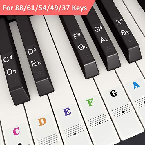 Pegatina de Piano Pegatinas de Teclados de Piano para 37, 49, 54, 61, 88 Teclas, Branger Reemplazo Pegatinas Teclado de Piano Pegatina de Notas para Niños Principiantes, Transparentes y Extraíbles