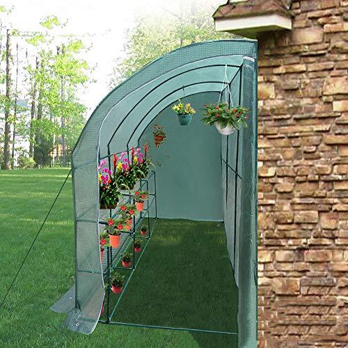 Invernadero contra pared para flores y plantas
