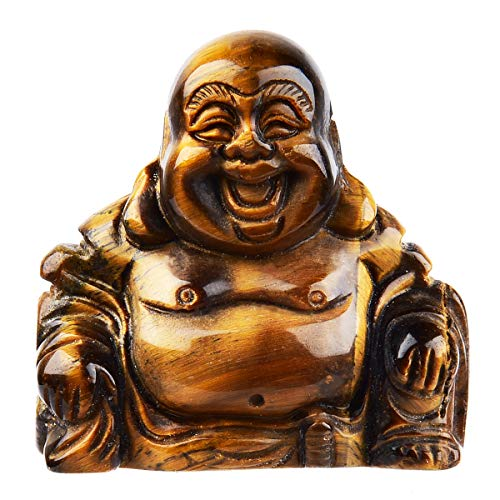 June&Ann Tiger's Eye Pocket Happy Buddha Statue, Laughing Happy Buddha Feng Shui Figurine Healing Crystal Gemstone Home Decoration for Wealth and Good Luck - 1.5'