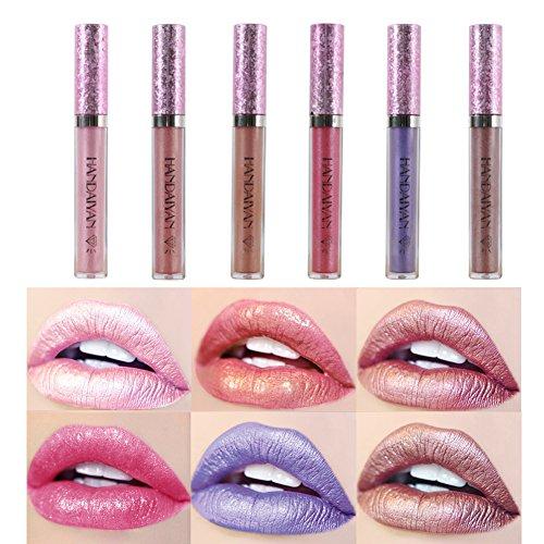 Samber Brillos de Labios Brillante Pintalabios de Color Metal Brillante de Maquillaje Profesional (C)