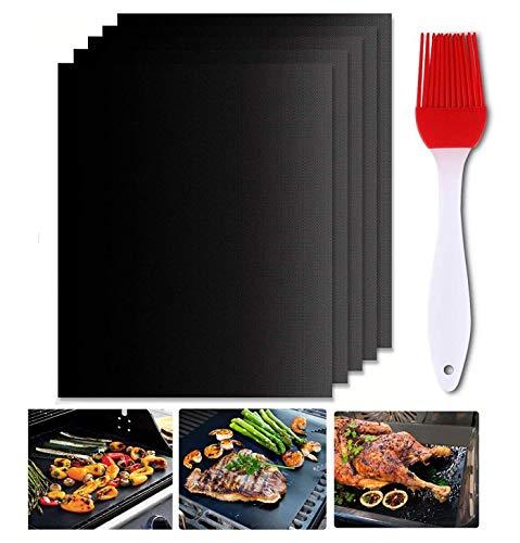 Gyvazla Grillmatte (5er Set), Grillmatten aus Grillen und Backen Anti Haft für bis 260°C, Perfekt für Backmatte für BBQ, Barbecue, Kohlegrill, holzkohlegrill,Holzkohle - Gasgrill, Elektro Grill