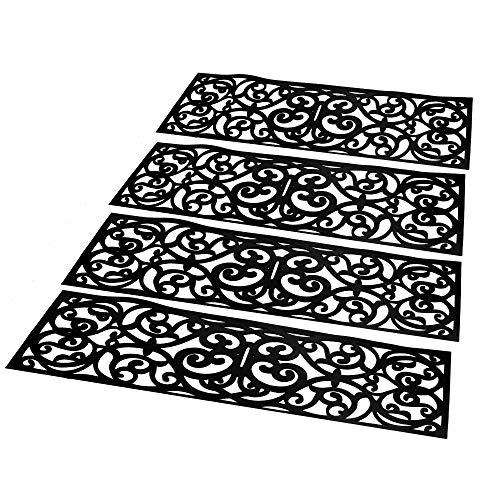 Ensemble de 4 marches d'escalier en caoutchouc | Tapis de porte intérieur et extérieur | Ensemble de tapis antidérapants | Tapis Design en Fer Forgé | Tapis antidérapants | M W