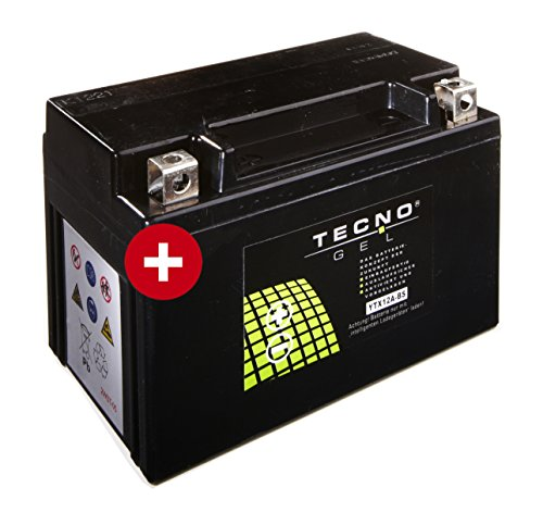 TECNO-GEL Motorrad-Batterie YT12A-BS, 12V Gel-Batterie 10 Ah, 150x87x106 mm inkl. Pfand
