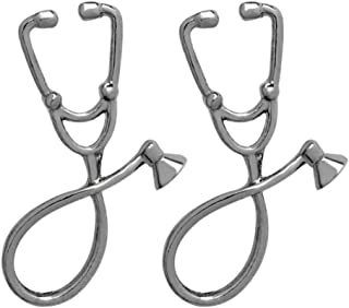 CoSunny Juego de 2 Pines de Estetoscopio médicos, Enfermeras, médicos, esmaltados, broches, Accesorios, Insignias, Regalos...