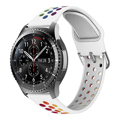 MroTech Correa Silicona 22mm Compatible para Samsung Gear S3 Frontier/Classic/Galaxy Watch 46mm Pulsera de Repuesto para GTR 47MM/Huawei Watch GT/Active/Elegant/GT2 46mm 22 mm Watch Band, Blanco/Neón