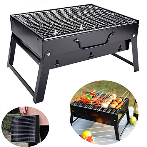 MomentDAY Large Portable BBQ Barbecue,Steel Charcoal Grill,Foldable Grill Easy to Setup,Suitable for Camping Cooking Picnic Backpacking Garden Party Festival (Small)