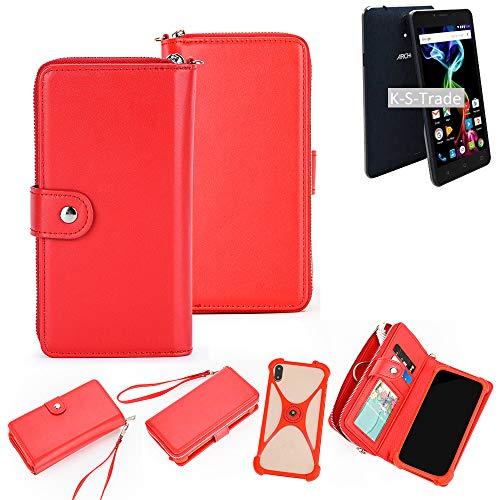 K-S-Trade 2in1 Schutzhülle Portemonnee Handy-Hülle Mit Bumper Kompatibel Mit Archos 55b Platinum Schutz-Hülle Handy-Hülle Hülle Etui Geldbörse Hülle Handy Smartphone Rot (1x)