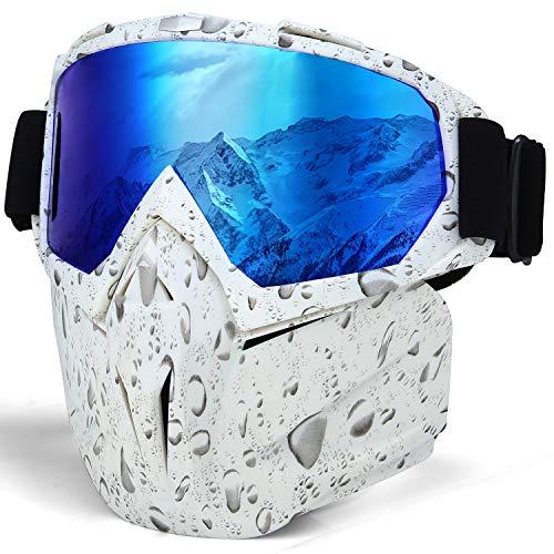 LAMEDA Máscara De Casco Moto Motocross Con Gafas Antivahos De Sol VLT 18%/S3 Para Mujer Y Hombre, Mascara Deportiva Para Esqui Motocicleta(Blanco)