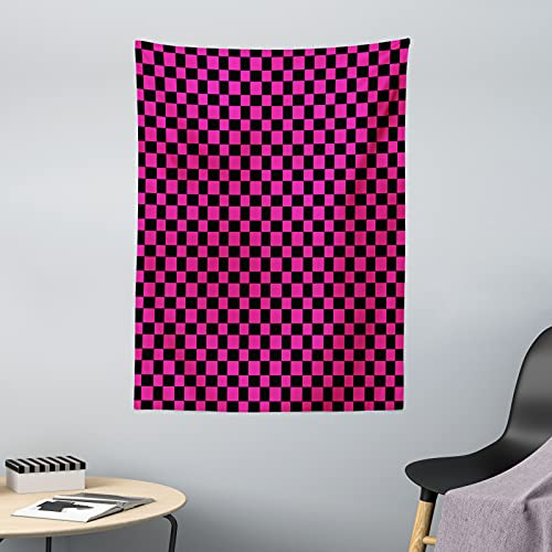ABAKUHAUS Hot Pink Wandteppich & Tagesdecke, Vichy-Karos Vibrant, aus Weiches Mikrofaser Stoff Dreck abweichender Digitaldruck, 110 x 150 cm, Magenta Schwarz