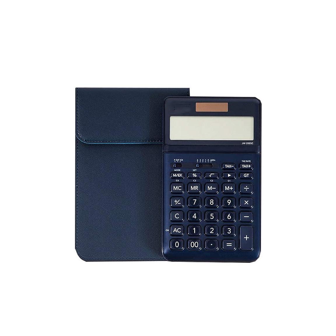 滑るじゃがいも疑い者事務所 12ビットHDディスプレイ超薄型デュアルパワーソーラーボタン電池二重保険厚くて丈夫なビジネス電卓 算数 (Color : Blue)