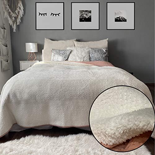 JEMIDI Wende Bett und Sofaüberwurf XL Doppelbett gesteppt mit kuscheligem Sherpa 220 x 240 Tagesdecke Überwurf Husse Decke XXL Tagesdecken gesteppt (Variante 4)