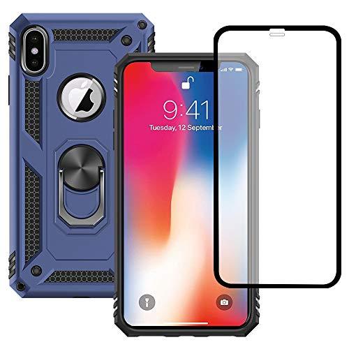 """Yiakeng Funda Apple iPhone X/XS New Edition Carcasa con Protector Pantalla Cristal Templado, Silicona Armor Case con Kickstand para Apple iPhone X/XS-5.8"""" (Azul)"""