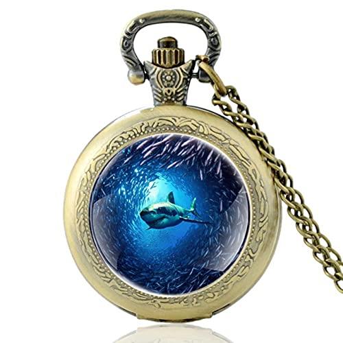 JTWMY Unico Mondo subacqueo squalo Vintage Orologio da Tasca al Quarzo Ciondolo Orologio Orologio Cupola di Vetro Collana Regali-Bronzo