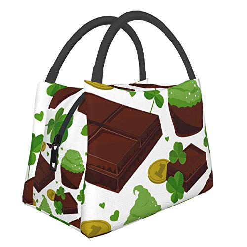 St. Patrick'S Day Shamrock Golden Coins Chocolate Portable Insulated Bags Lunch For Womens Men Kids Bento Boys Large Cooler Small Best Girls Cute Adult Hot Tote Work School
