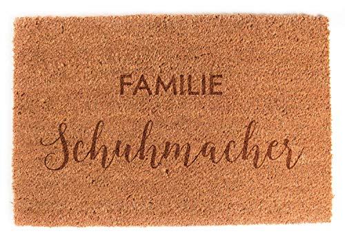 LAUBLUST Fußmatte Personalisiert - Familien Design - 60x40cm, Kokos | Geschenk zur Hochzeit | Umzugs- & Einzugsgeschenk