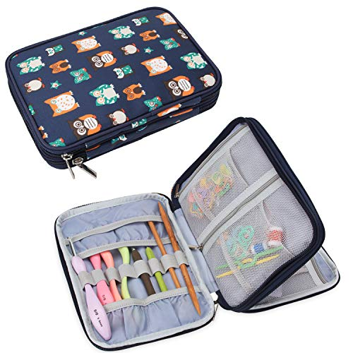 Teamoy Crochet Hook Case, Crochet Knitting Needle Storage Bag for Swing Crochet Hooks, Lighted Hooks, Needles(Up to 8') and Accessories, Owls(No Accessories Included)