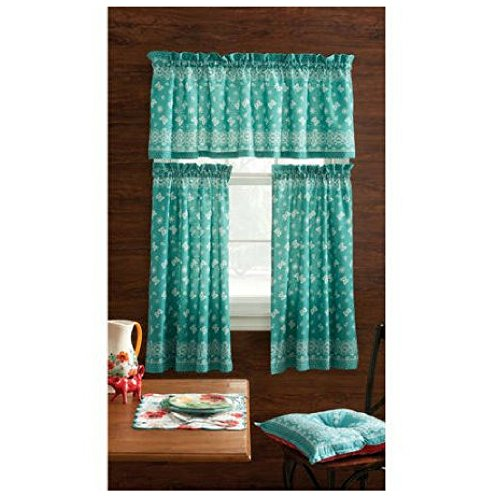 Pioneer Woman Kitchen Curtain and Valance 3pc Set (30X36, Bandana Teal)