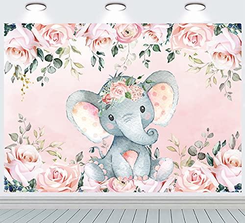 INRUI Fondo de fotografía de elefante rosa lindo elefante bebé ducha floral fondos elefante cumpleaños para niña decoración 7x5ft