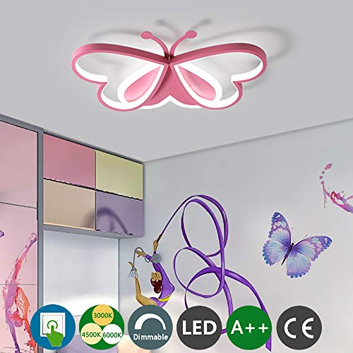Modern LED Deckenleuchte Kinderzimmer Deckenlampe Junge Mädchen Schlafzimmer Metall Acryl Pink Schmetterling Lampe Dimmbare Schalter...