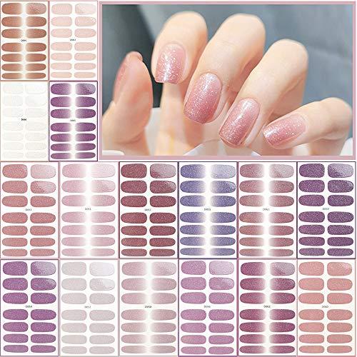 Nagelsticker,Nagelaufkleber Nagelkunst Sticker Selbstklebende Maniküre Sticker Schöne Mode DIY Dekoration 16 Blatt (224pcs)