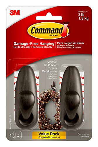 Command Forever Classic Metal Hook, Medium, Oil Rubbed Bronze, 2-Hooks (FC12-ORB-2ES), Decorate Damage-Free