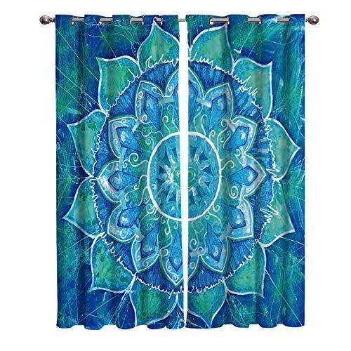 LWXBJX Cortinas Dormitorio Opacas Suaves con Ojales - Azul Mandala Flores -...