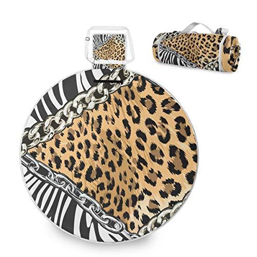 Manta de picnic grande de piel de cebra y leopardo, impermeable, práctica esterilla de picnic para la familia, camping, playa, parque redondo, 59 pulgadas
