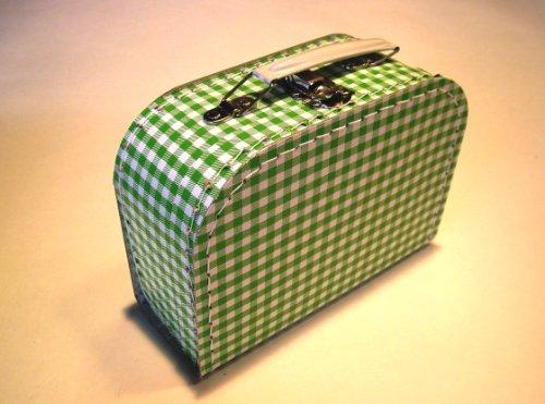 Koffer Pappe, grün weiß kariert, Vichy, mittel, 20cm, Pappkoffer