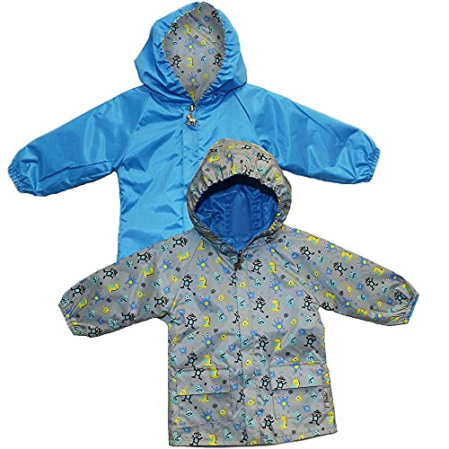 Frenchie Mini Couture Hooded Raincoat for Boys, 100% Polyester Nylon, Reversible Baby Boy Rain Jacket, Monster, 12-18 Mos.