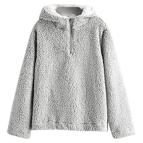 NXLWXN Damestrui met capuchon en eenkleurige trui casual winter teddy fleece lange mouwen oversize sweatshirt mantel tops met capuchon