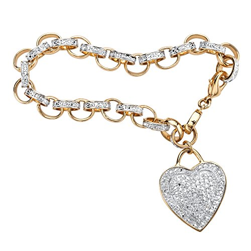 Palm Beach Jewelry 18K Yellow Gold Plated Genuine Diamond Accent Heart Charm Link Bracelet (27mm), Lobster Claw Clasp, 7.75 inch Adjustable