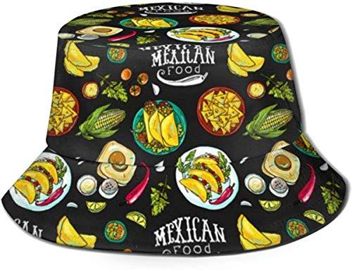 NA emmer hoed Mexicaanse voedsel patroon (2) zon visser pet outdoor hoed UV zon bescherming hoed opvouwbare lichtgewicht ademende Travel Cap zwart