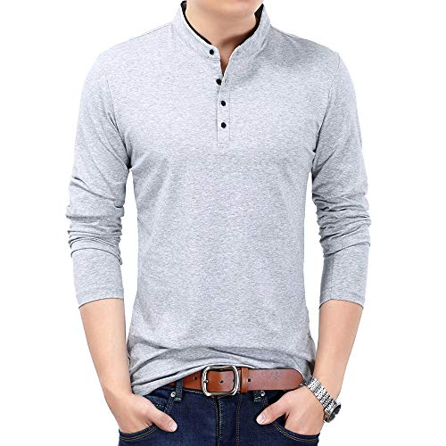 FREDRM Mens Polo T Shirts Long Sleeve Slim Fit Casual Cotton Stretchy Collared Shirts for Men (Light Gray, M)